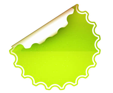 hamous: Lettuce Green round bent sticker or label over white background Stock Photo