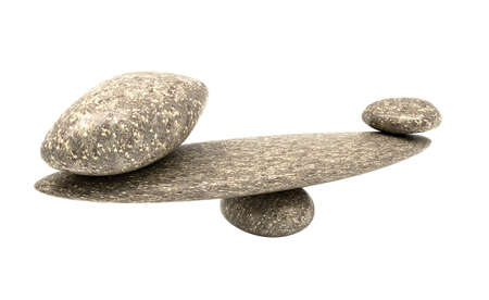 ponderous: Ponderous thing: balancing cobblestones isolated over white background