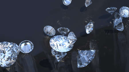 Precious gems: group of diamonds rolling over with reflection photo