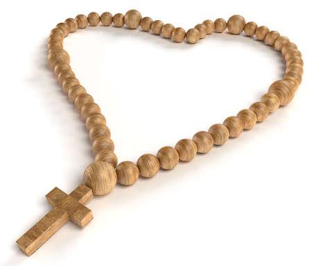 het religieuze leven en de liefde: houten krans of rozenkrans op een witte achtergrond