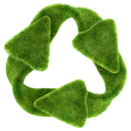 Ecological sustainability: green grass recycling symbol isolated on white photo