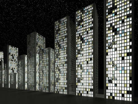 window pane: Megalopolis: Abstract skyscrapers in a row at night Stock Photo