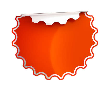 hamose: Round Red bent sticker or label over white background
