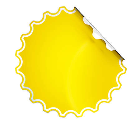 Round Yellow hamous sticker or label over white background photo