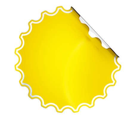 hamose: Round Yellow hamous sticker or label over white background Stock Photo