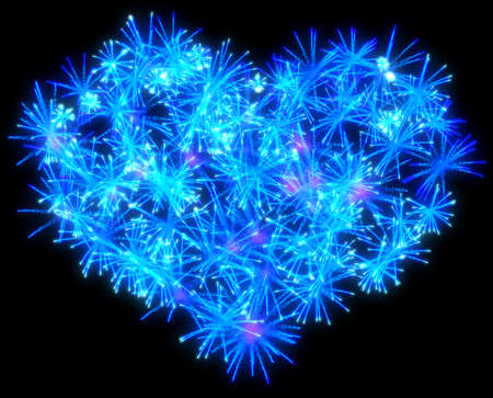 Valentines Day blue Fireworks heart shape over black photo