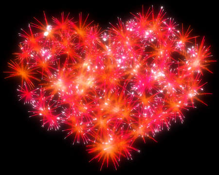 Valentines Day red Fireworks heart shape over black photo