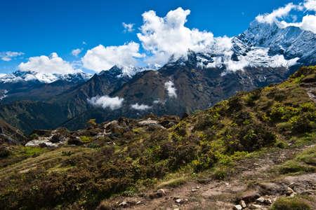 himalayas: Ama Dablam and Thamserku peaks: Himalaya landscape. Pictured in Nepal