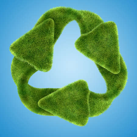 Ecological sustainability: green grass recycling symbol on blue photo