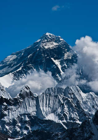 Everest Mountain Peak or Sagarmatha - the top of the world (8848 m) Stock Photo