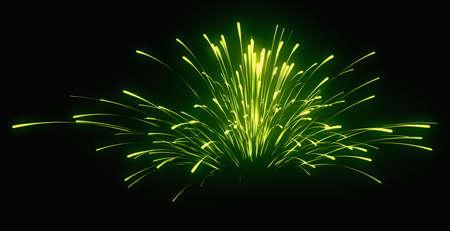 黒夜休日: 緑のお祭り花火 写真素材