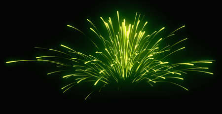 Holiday: green festive fireworks at night over black