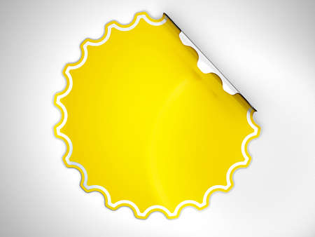 hamose: Round Yellow hamous sticker or label over grey spot light background