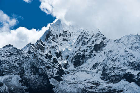 himalayas: Thamserku Mountain peak in Himalayas, Nepal. Sagarmatha National Park