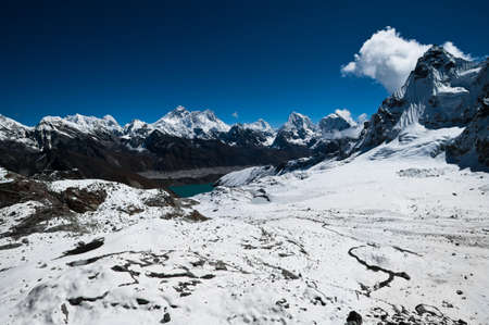 View from Renjo Pass: Everest Mt. and Gokyo lake. (shot at height 5435 m) photo