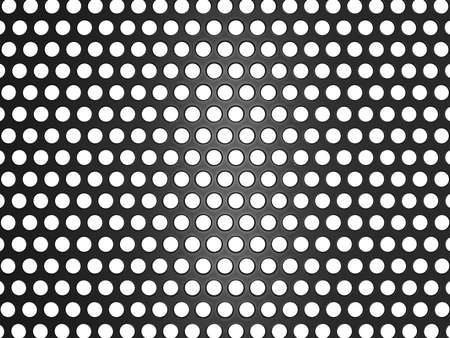 abstract aperture: Black metal grill with holes isolated over white. Useful as background