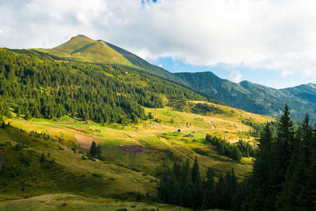 carpathian mountains: Carpathian mountains landscape in Ukraine. hiking and travel Stock Photo