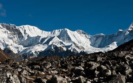 vicinity: Mountains in the vicinity of Cho oyu peak (8201 m). Pictured in Nepal Stock Photo