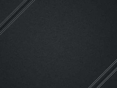 黒い斜めのステッチされた革の背景。テクスチャとして役に立つ