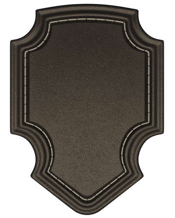 chamois leather: Black stitched tag or label isolated over white. Large resolution