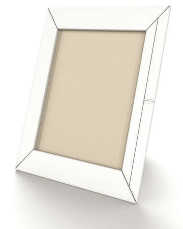 Empty leather photo frame on stand over white background photo