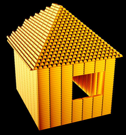 Expensive realty:: gold bars house shape over black photo