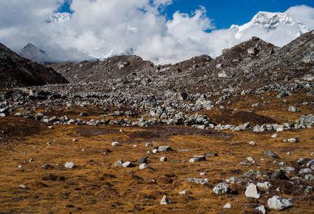 alpine tundra: Himalaya landscape: moraine and mountain peaks. Travel to Nepal