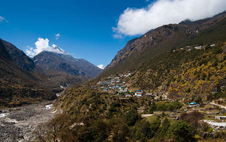 Landscape in Himalaya  peaks and highland village  Pictured In Nepal photo