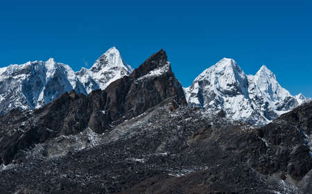 Mountain range viewed from Renjo pass in Himalayas  Captured in Sagarmatha National park