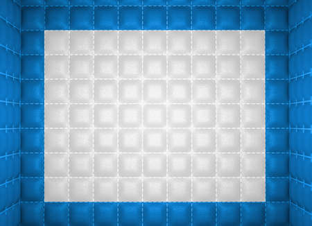 matrass: Soft room concept  Blue and white stitched leather pattern  Segregation or Isolation