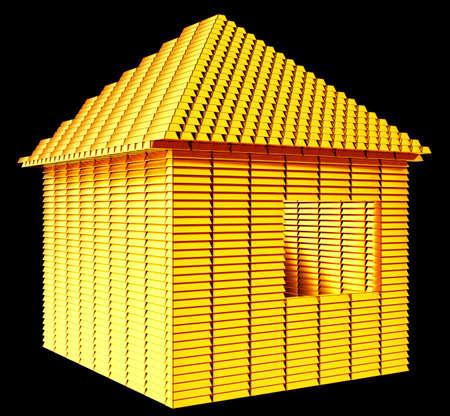 Valuable real estate  gold bars house shape over black Stock Photo - 14588031