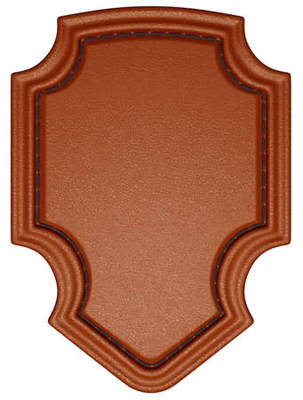 Brown stitched tag or label isolated over white. Large resolution photo