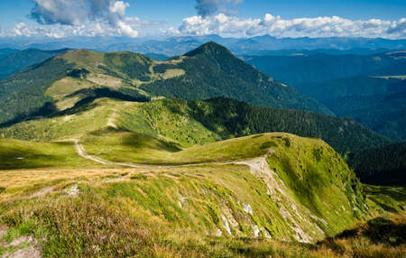 Carpathian mountains on the border of Ukraine and Romania. Hiking and travel