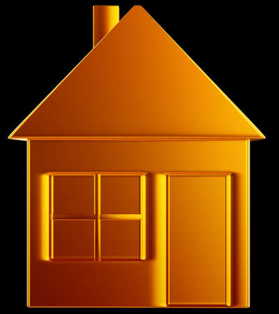 Costly home:: golden house shape over black Stock Photo - 14588183