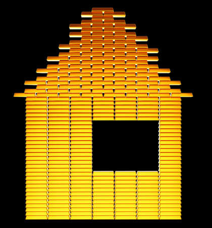 Costly realty: gold bars house shape over black Stock Photo - 14588212