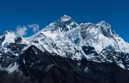 Everest, Changtse, Lhotse and Nuptse peaks: top of the world. Travel in Nepal