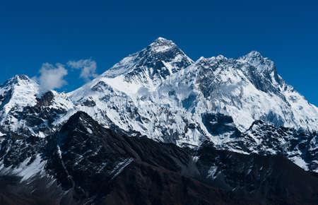 Everest, Changtse, Lhotse and Nuptse peaks: top of the world. Travel in Nepal