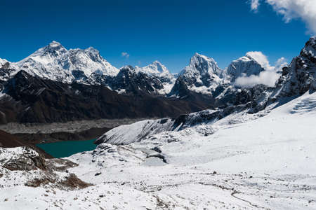 Famous peaks view from Renjo Pass: Everest, Makalu, Lhotse, Nuptse, Cholatse, Taboche in Himalayas photo