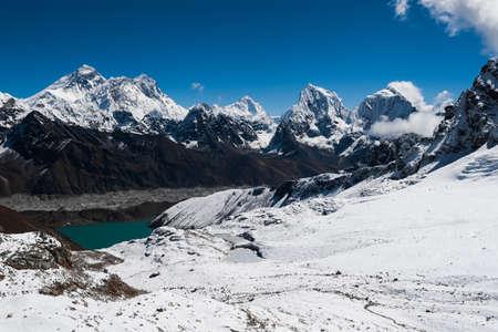 Famous peaks view from Renjo Pass: Everest, Makalu, Lhotse, Nuptse, Cholatse, Taboche in Himalayas photo