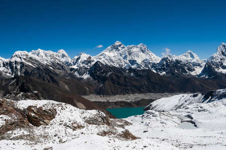 Famous peaks view from Renjo Pass: Everest, Makalu, Lhotse, Nuptse, Pumori in Himalayas photo