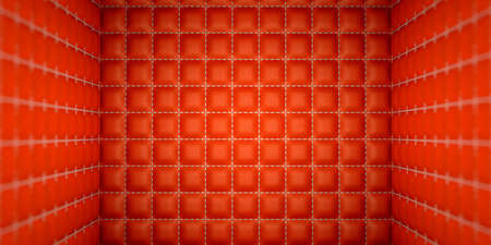 matrass: Isolation and segregation: Red stitched leather mattresses. Soft room concept.