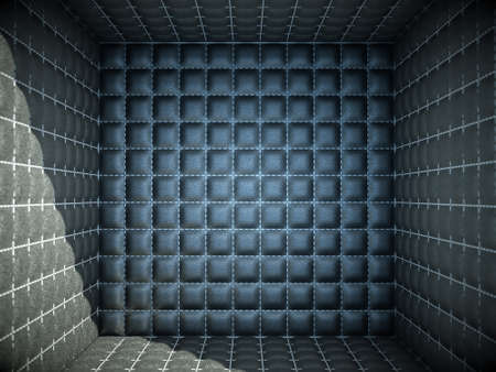 quarantine: Isolation and segregation: Soft room concept. Black stitched leather pattern Stock Photo
