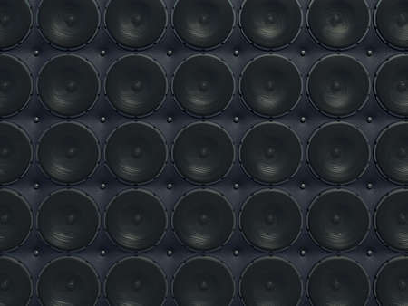 Loud Sound wall: black speakers over leather pattern (useful as background) Stock Photo - 14588747