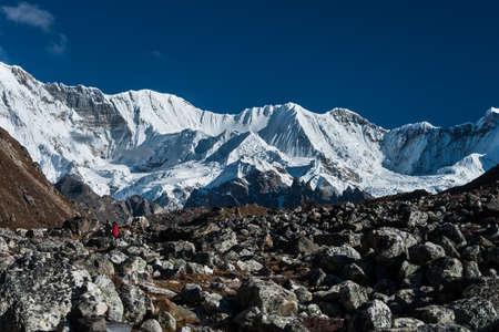 vicinity: Mountain range in the vicinity of Cho oyu peak. Himalayas and Nepal Stock Photo