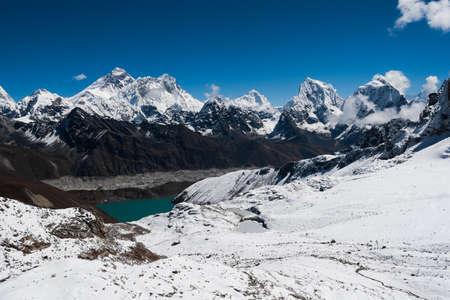 Famous peaks from Renjo Pass: Everest, Makalu, Lhotse, Nuptse, Cholatse. Travel to Nepal photo