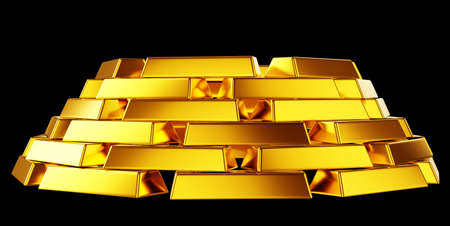 Pure gold: bullions or bars stack isolated over black background Stock Photo - 14588188