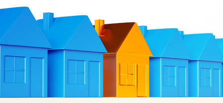 Right realty decision: special golden house among common ones. Stock Photo - 14588193