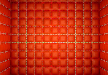segregation or Isolation: Red stitched leather mattresses. Soft room concept.