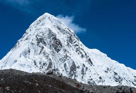 Snowed Pumori summit in Himalaya  Travel to Nepal photo