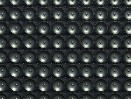 Sound and stereo  black speakers over leather pattern  useful as background  photo